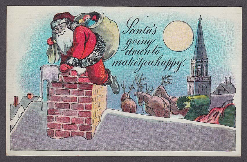 Image for Santa Claus going down chimney Christmas postcard 1910s