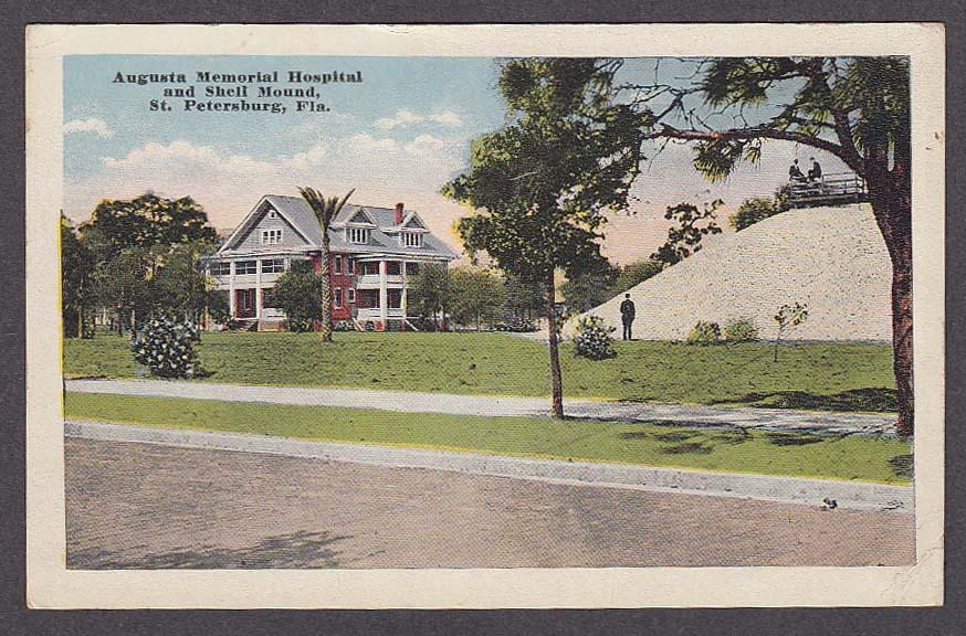 Image for Augusta Memorial Hospital & Shell Mound St Petersburg FL postcard 1910s