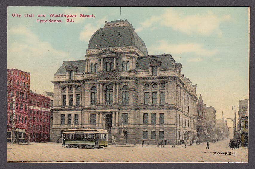Image for Hotel Dorrance City Hall & Washington Street Providence RI postcard 1910s