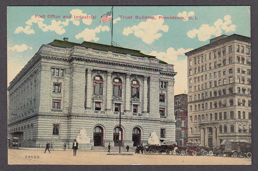 Image for Post Office & Industrial Trust Building Providence RI postcard 1910s