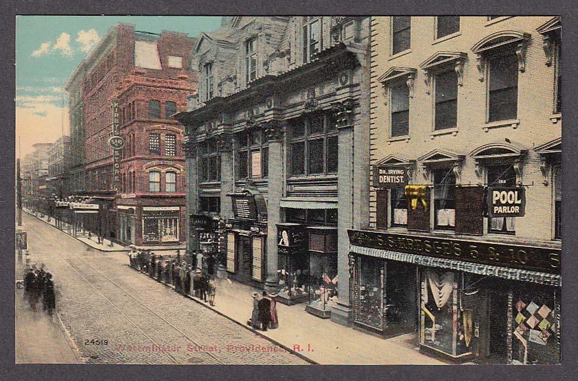 Image for Dr Irving Dentist Kresge Kirby + Westminster Street Providence RI postcard 1910s