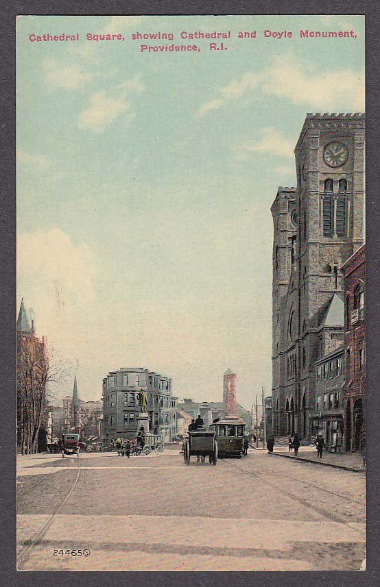 Image for Cathedral Square showing Cathedral & Doyle Monument Providence RI postcard 1910s