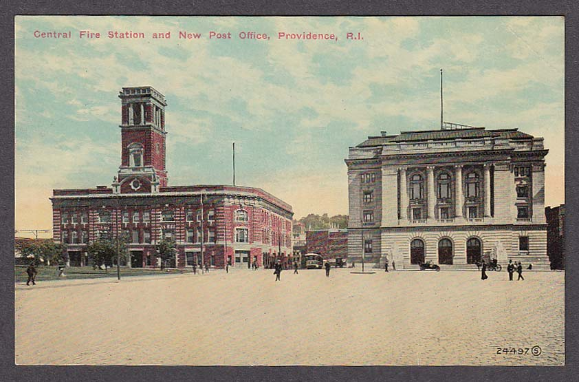 Image for Central Fire Station & New Post Office Providence RI postcard 1910s