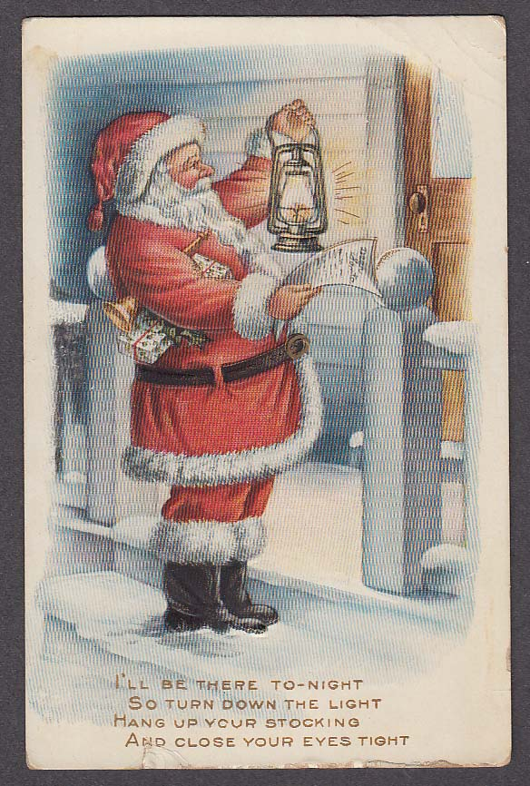 Image for Santa Claus reading list by lantern light embossed Christmas postcard 1910s