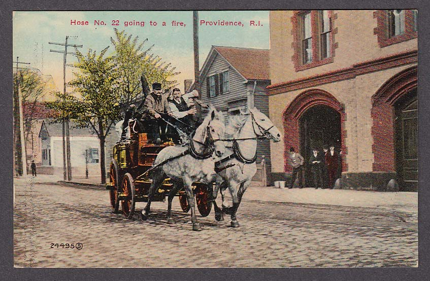Image for Hose No. 22 going to a fire Providence RI postcard 1910s horse-drawn fire engine