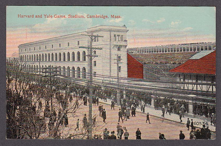 Image for Harvard & Yale Game Stadium Cambridge MA postcard 1910s
