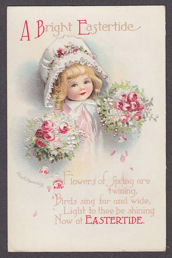 Image for Bright Eastertide girl in bonnet with flowers Easter postcard 1916 Clapsaddle