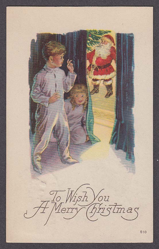 Image for Children watching Santa Claus from behind curtain Christmas postcard 1925