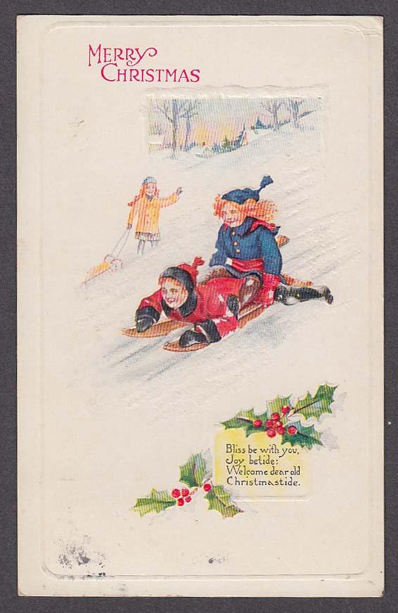 Image for Kids sledding Christmas embossed postcard 1924