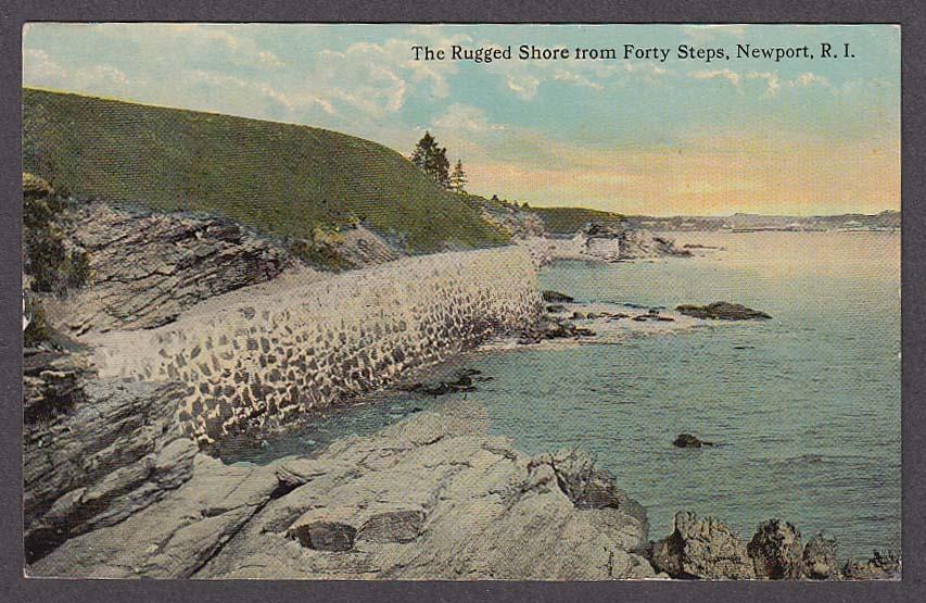 Image for The Rugged Shore from Forty Steps Newport RI postcard 1914