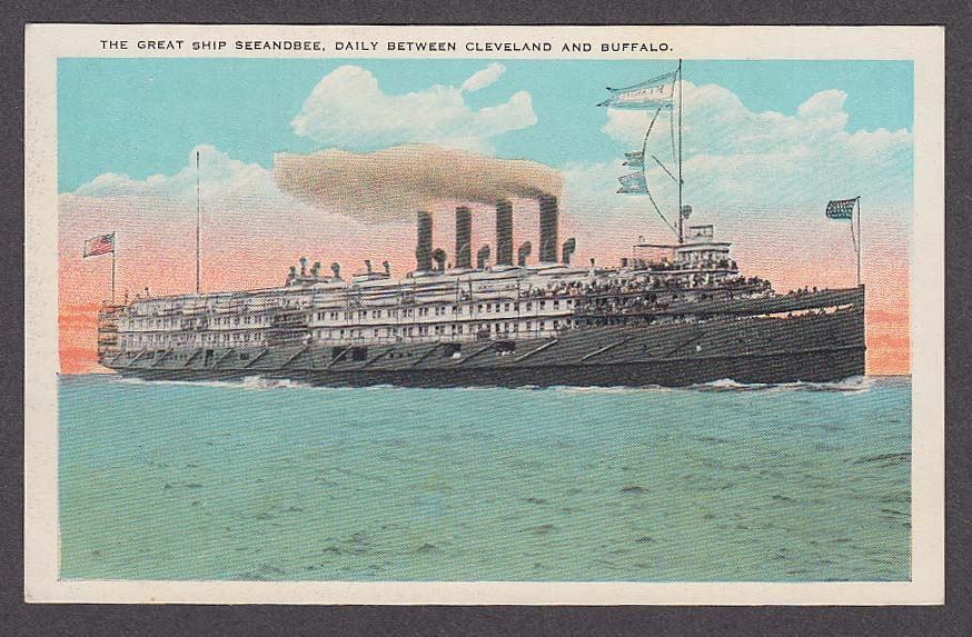 Image for The Great Ship Seeandbee Daily between Cleveland & Buffalo postcard 1930s
