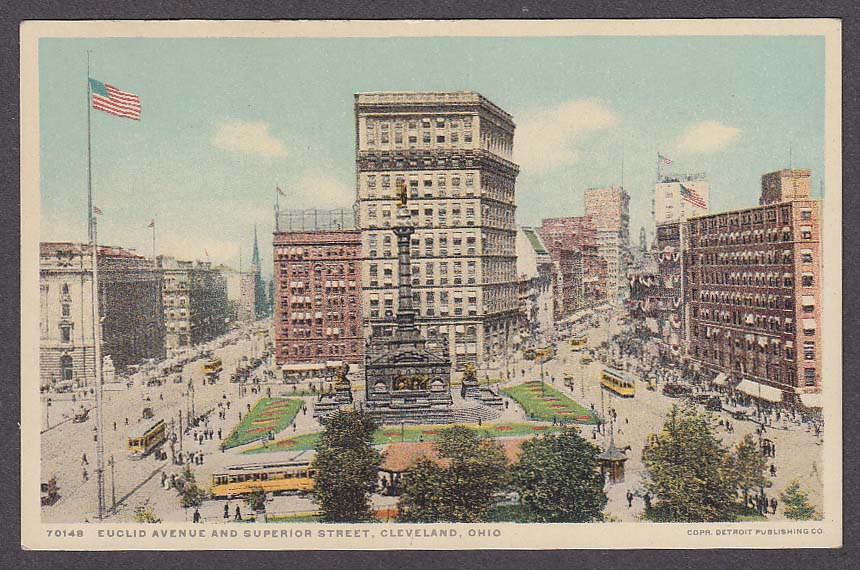 Image for Euclid Avenue & Superior Street Cleveland OH postcard 1910s