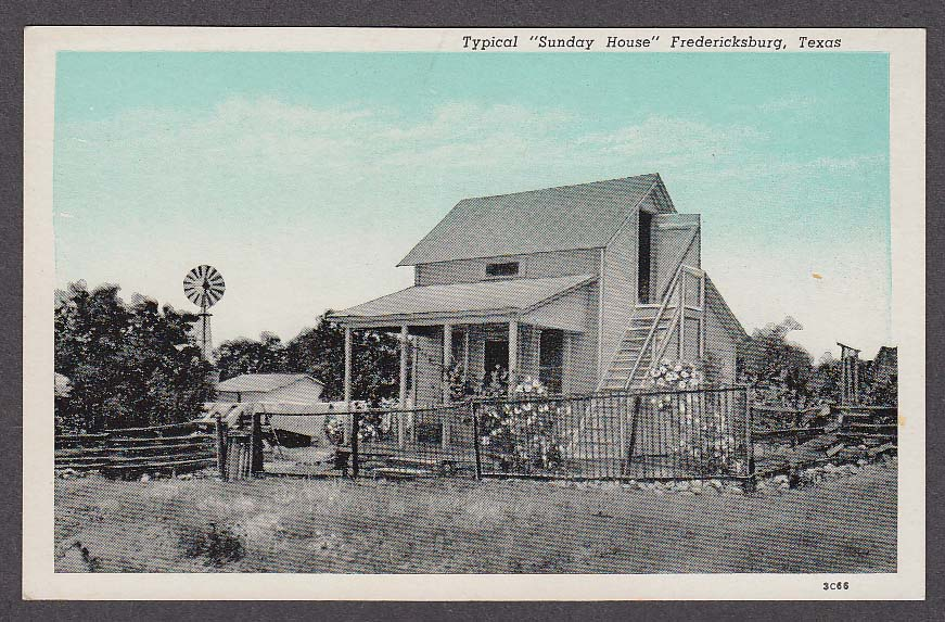 """Image for Typical """"Sunday House"""" Fredericksburg TX postcard 1930s"""