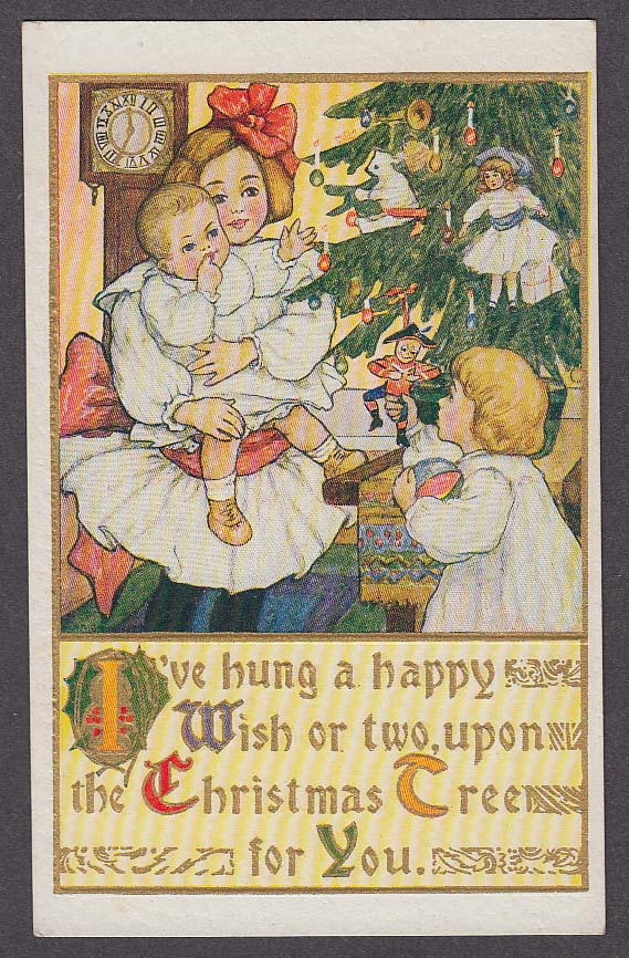 Image for Children hanging ornaments on tree embossed Christmas postcard 1910s