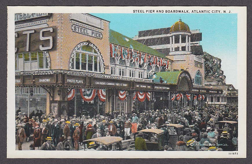 Image for Steel Pier and Boardwalk Atlantic City NJ postcard 1920s