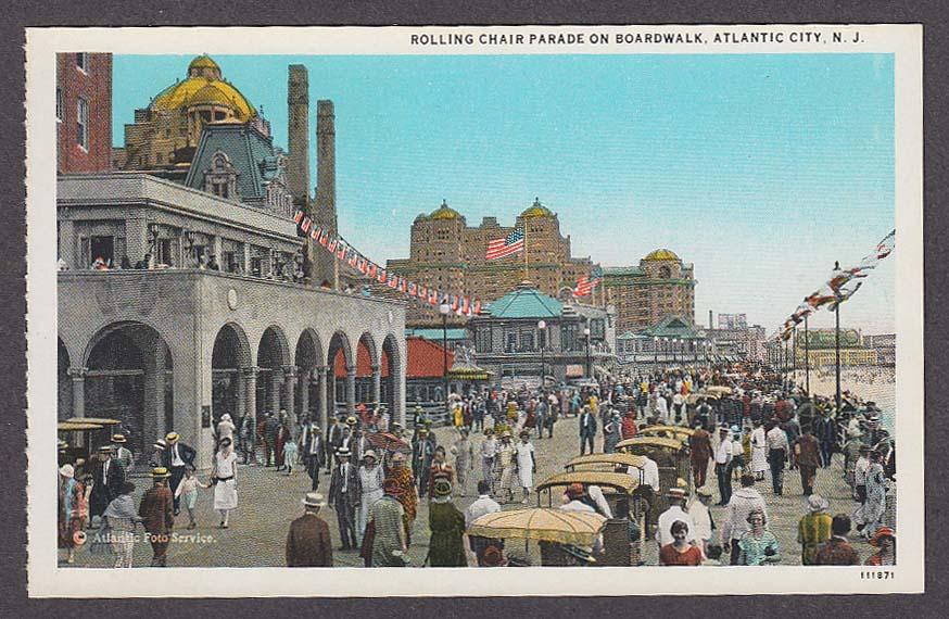rolling chair parade on boardwalk atlantic city nj postcard 1920s