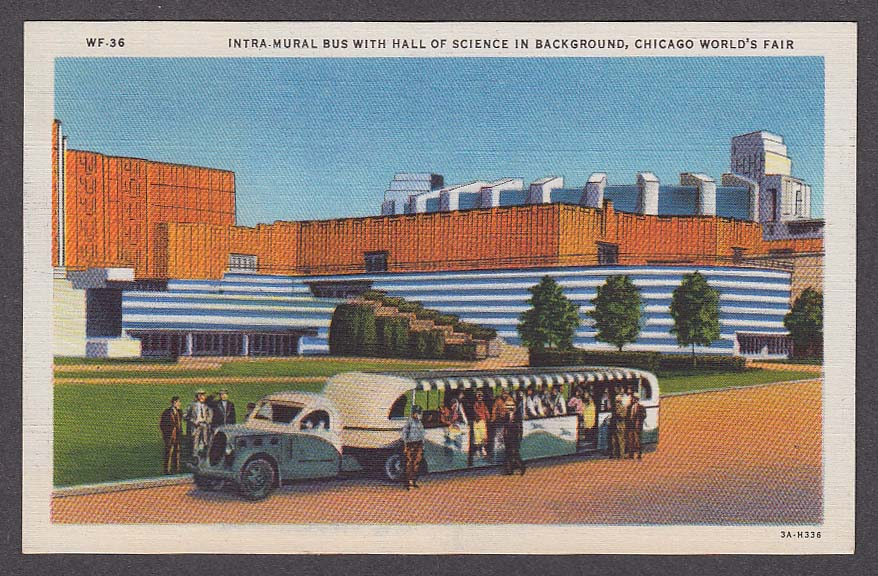 Image for Intra-Mural Bus with Hall of Science Chicago World's Fair 1933 postcard WF-36