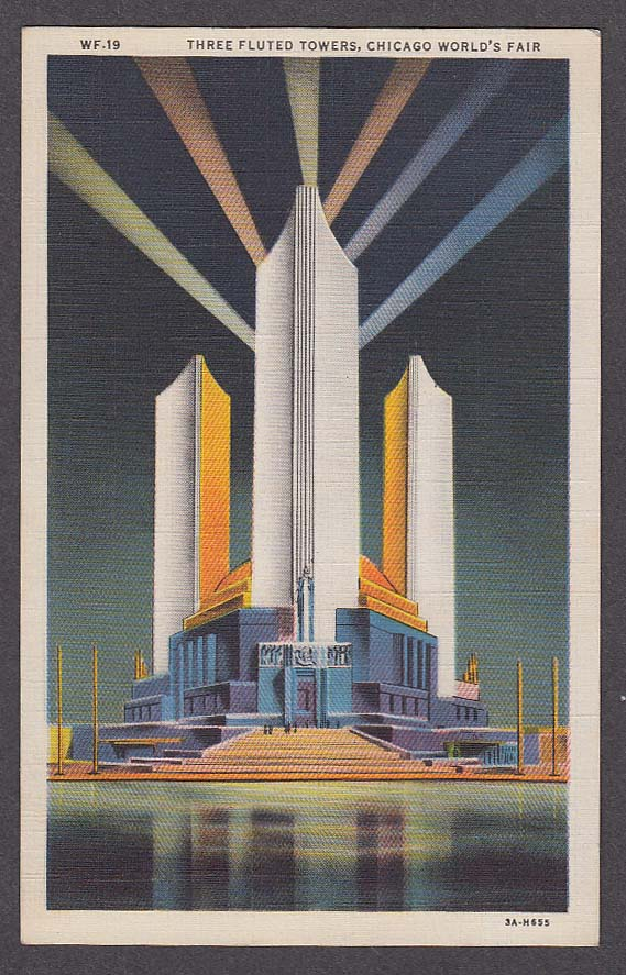 Image for Three Fluted Towers Chicago World's Fair 1933 postcard WF-19