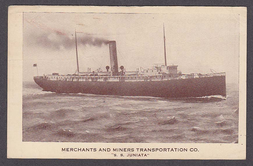 Image for Merchants and Miners Transportation Co SS Juniata ship postcard 1910s