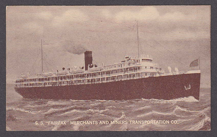Image for SS Fairfax Merchants and Miners Transportation Co ship postcard