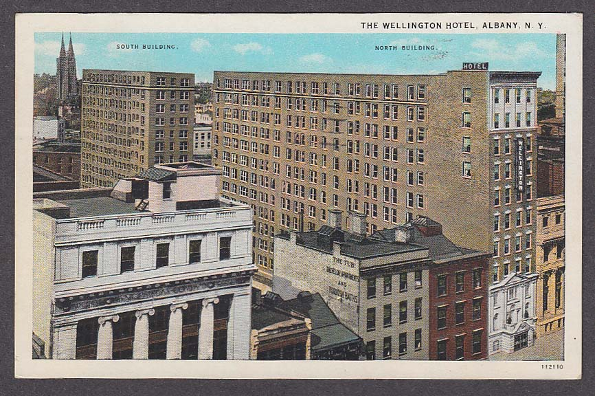 Tub Bachelor Apartments & Turkish Baths Wellington Hotel Albany NY postcard 1933