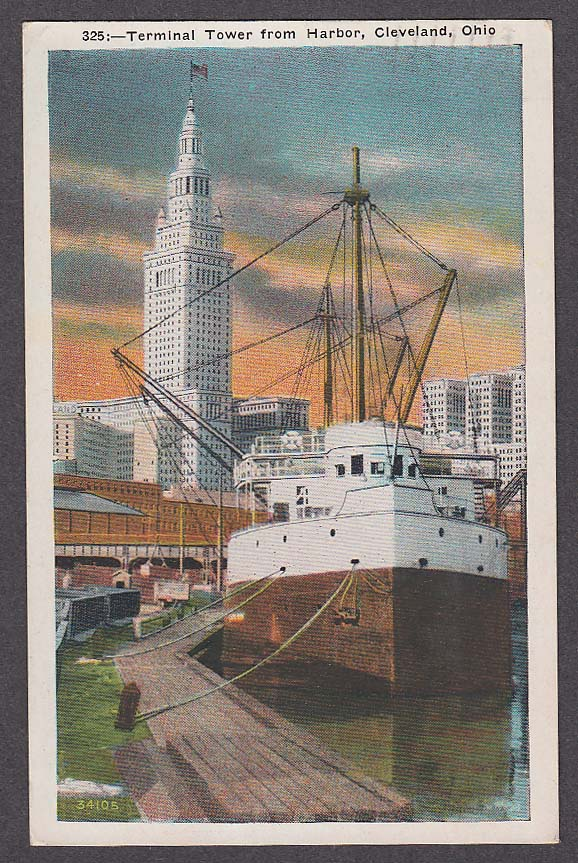 Image for Terminal Tower from Harbor Cleveland OH postcard 1933