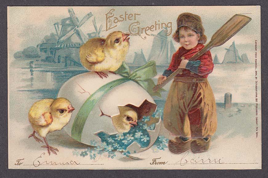 Image for Dutch boy clogs windmills chicks egg Easter embossed postcard 1907