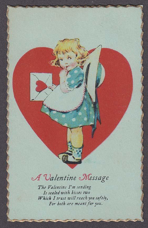 Image for Valentine Message little girl with envelope postcard 1929