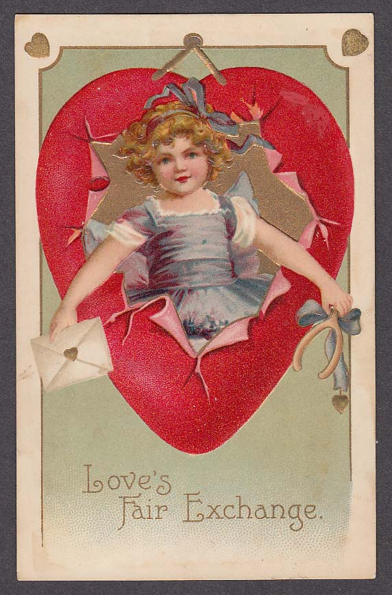 Image for Love's Fair Exchange embossed Valentine's Day postcard 1909