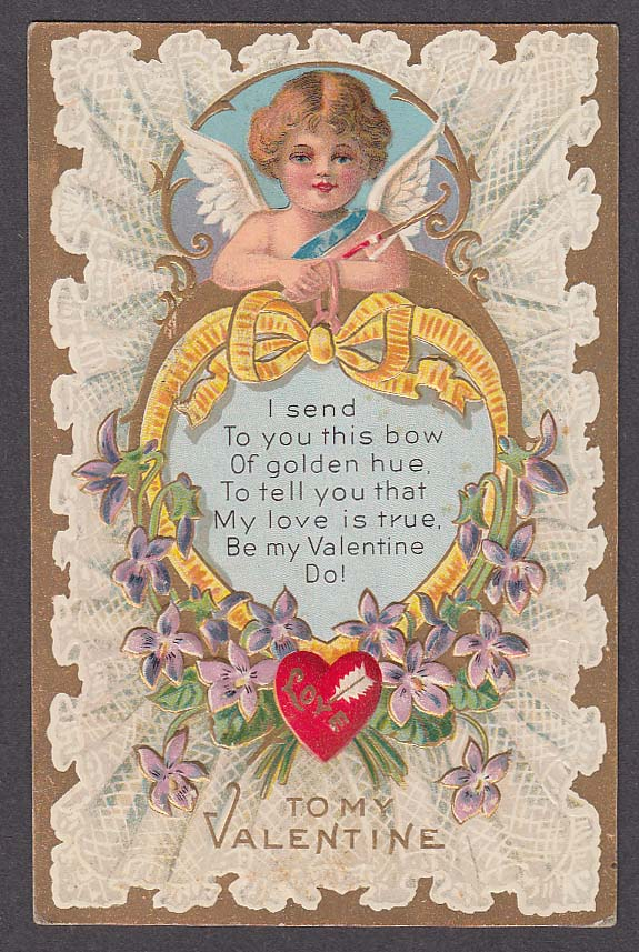 Image for Valentine's Day embossed postcard 1909 cupid & lace motif