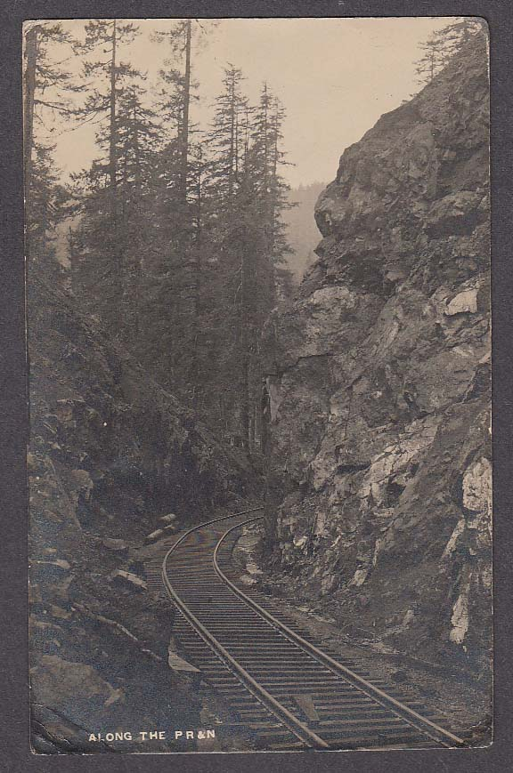 Along the Pacific Railway & Navigation Railroad Timber OR RPPC postcard 1930s