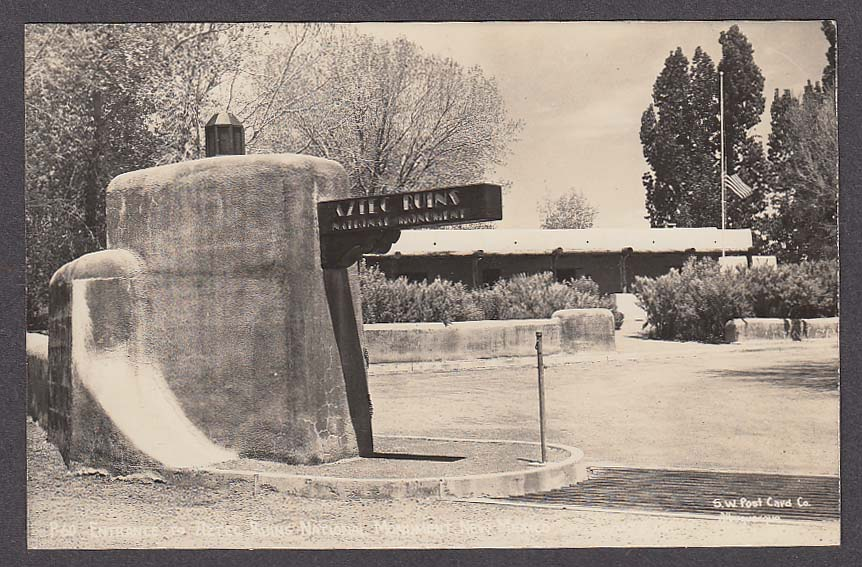 Image for Entrance to Aztec Ruins National Monument NM RPPC postcard 1950s