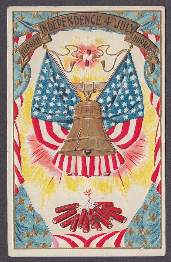 Liberty Bell & Firecrackers Independence Day 4th of July embossed postcard 1911