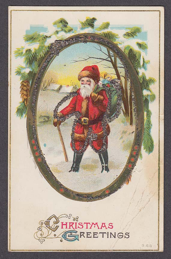 Image for Christmas Greetings Santa Claus glitter added postcard 1910s