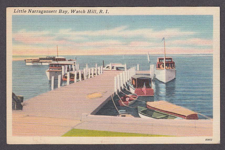 Image for Little Narragansett Bay Watch Hill RI postcard 1930s