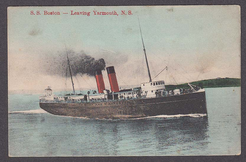 Image for SS Boston Leaving Yarmouth Nova Scotia Canada postcard 1910s