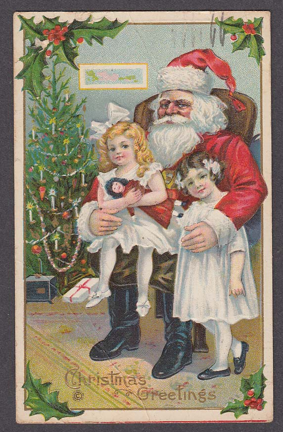 Image for Christmas Greetings Santa Claus with girls on lap embossed postcard 1919