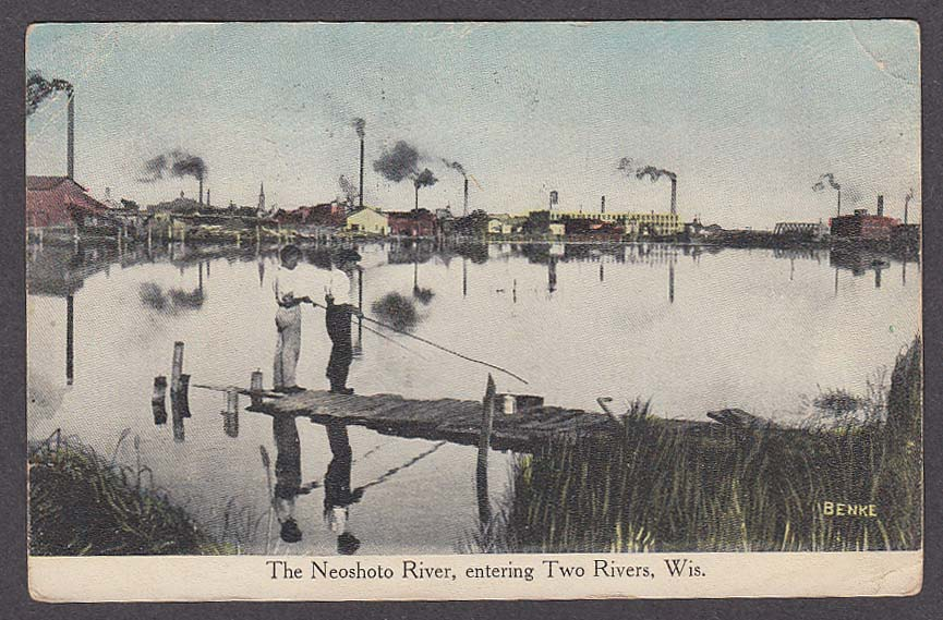 Image for The Neoshoto River entering Two Rivers WI postcard 1916