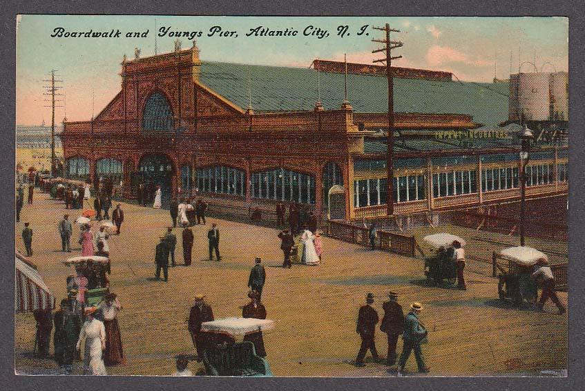 Image for Boardwalk & Youngs Pier Atlantic City NJ postcard 1910s