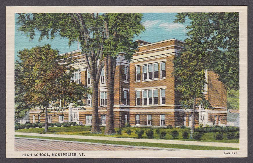 Image for High School Montpelier VT postcard 1930s