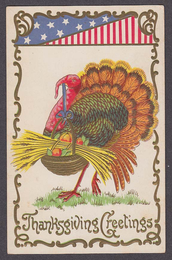 Thanksgiving Greetings patriotic turkey embossed postcard 1910s