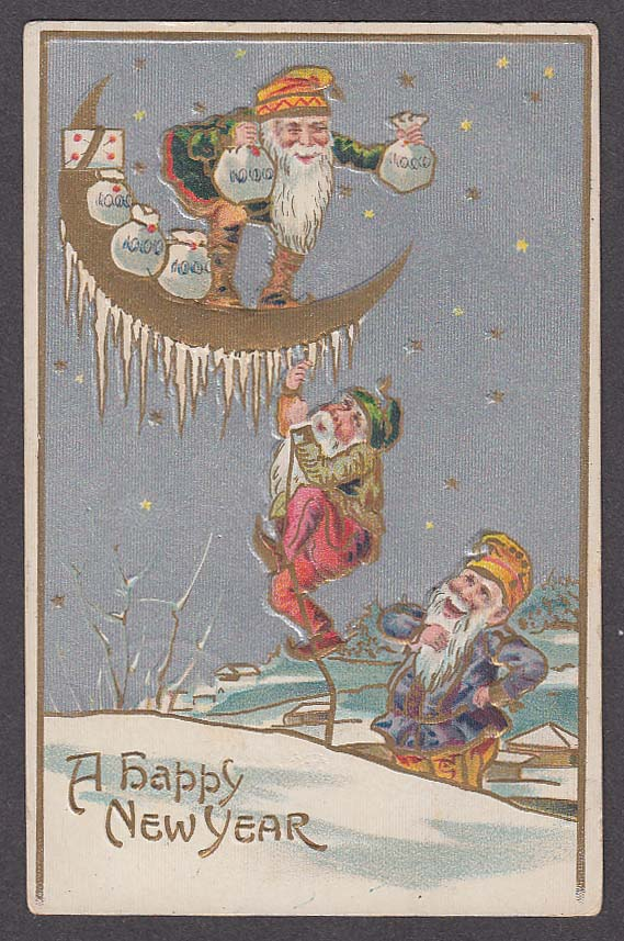 Happy New Year gnomes bags crescent moon embossed postcard 1908