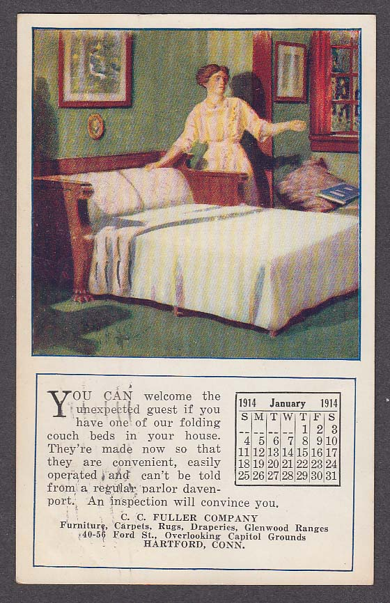 Fuller Company January 1914 Calendar Hartford CT undivided back postcard 1914