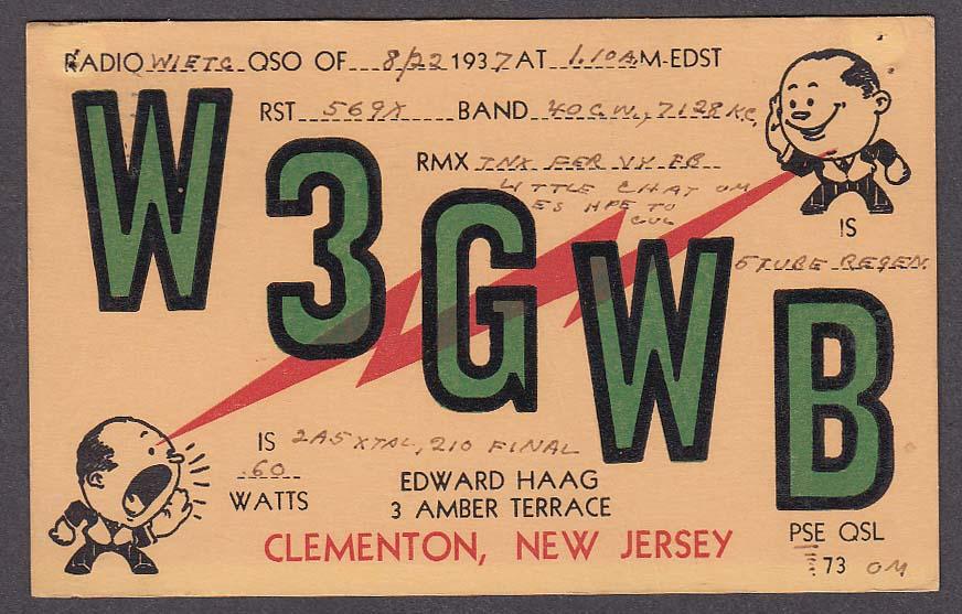 W3GWB Edward Haag Clementon NJ QSL postcard 1937