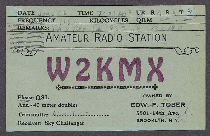 W2KMX Tober Brooklyn NY QSL postcard 1938