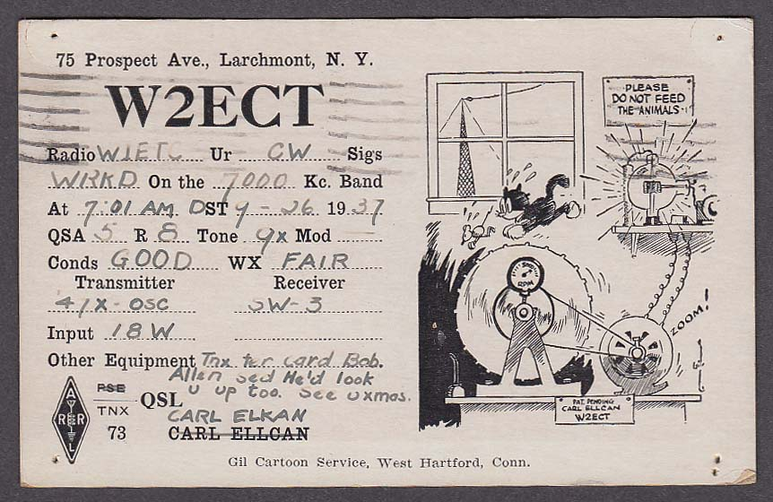 W2ECT Carl Elkan 75 Prospect Ave Larchmont NY QSL postcard 1937