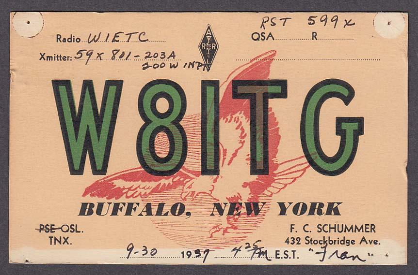 W8ITG Schummer Buffalo NY QSL postcard 1937