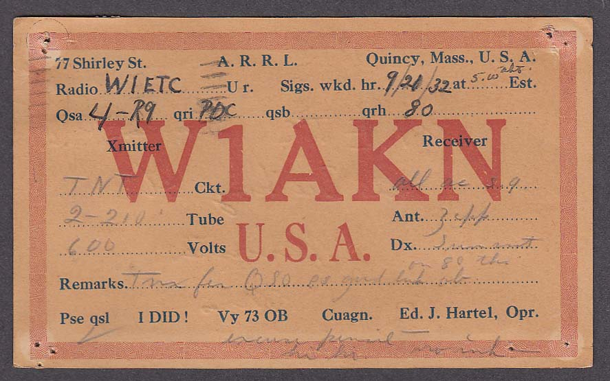 W1AKN Ed Hartel 77 Shirley St Quincy MA QSL postcard 1932