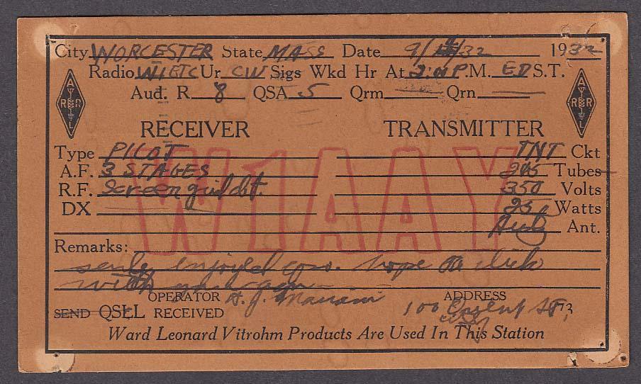 W1AAY Worcester MA QSL postcard 1932