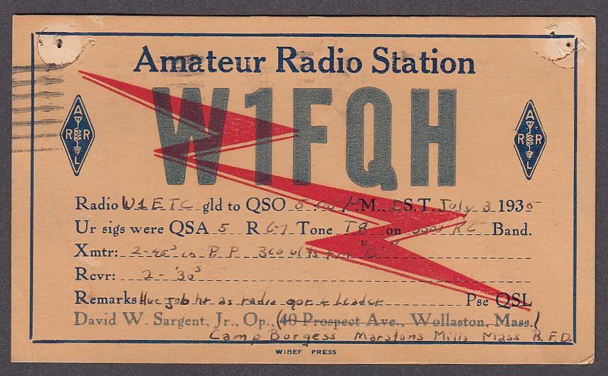 W1FQH David Sargent MA QSL postcard 1935